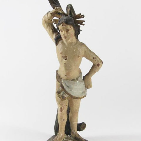 Saint Sebastian, linden, Southern German, old polychrome setting