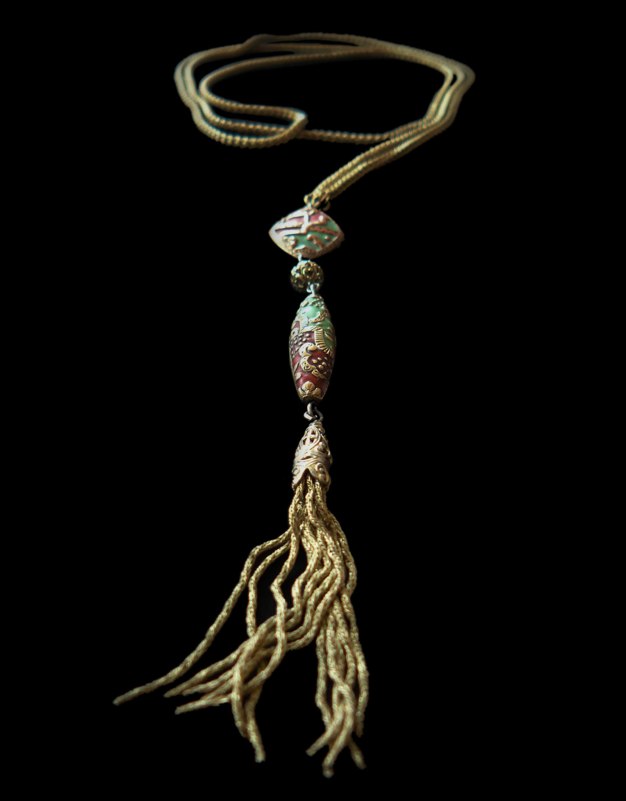 Long Necklace, silver gilt with pendant