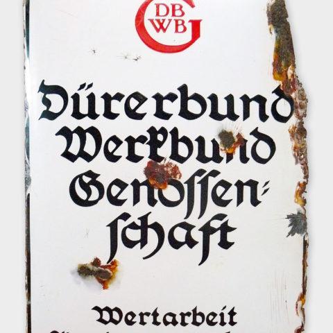 Signboard, enamel, Dürerbund-Werkbund-Genossenschaft