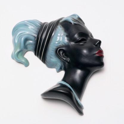 Wall mask, dark skin young woman, Albert Strunz for Cortendorf