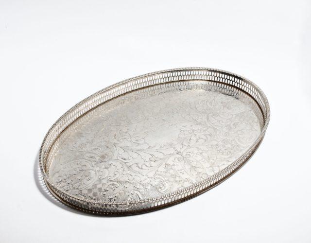 Tablett für Gläser, hartversilbert, England, Mitte 20. Jahrhundert
